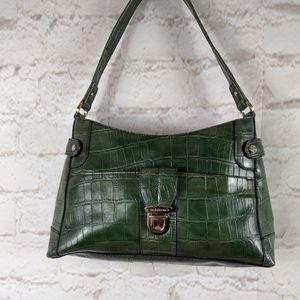 Liz Claiborne green croc embossed purse